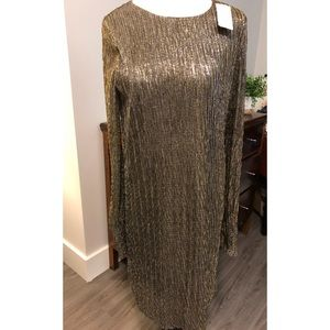 Banana Republic, Gold Metallic Cocktail Dress, New